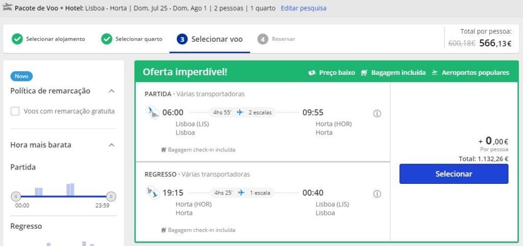 Voo + Hotel - Ilha Faial   Hotel Horta 4*