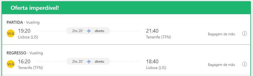 Voo - Lisboa - Tenerife