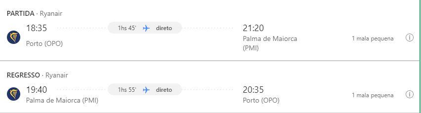 Voo - Porto - Palma de Maiorca